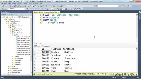 Implementing ad-hoc paging with offset and fetch: SQL Server 2012 New Features
