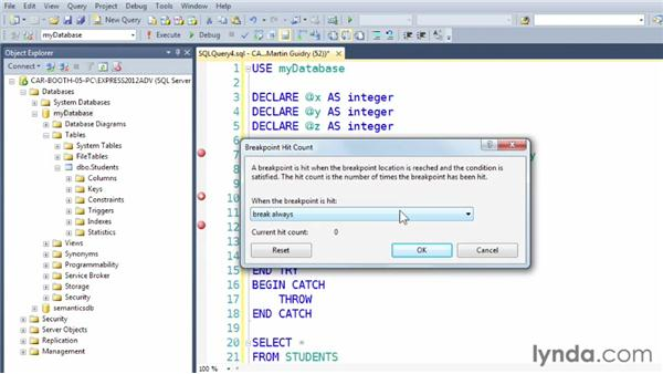 Using breakpoint condition, breakpoint hit count, breakpoint filter, and breakpoint action: SQL Server 2012 New Features
