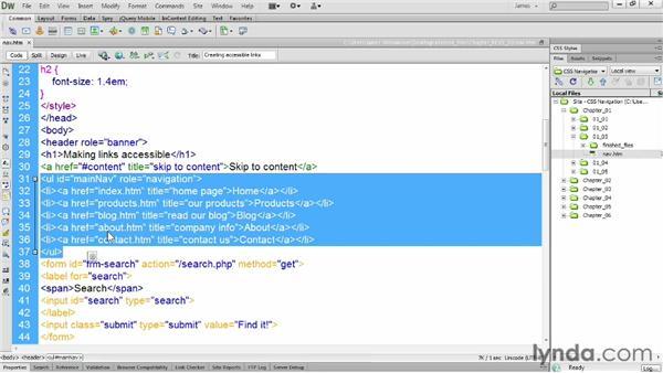 Using the nav element: CSS: Styling Navigation