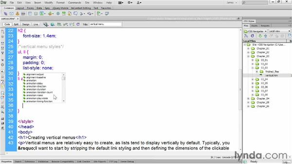 Setting link styling: CSS: Styling Navigation