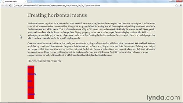Displaying links horizontally: CSS: Styling Navigation