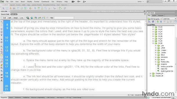 Lab: Creating horizontal menus: CSS: Styling Navigation
