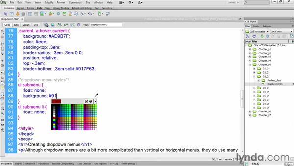 Styling submenus: CSS: Styling Navigation