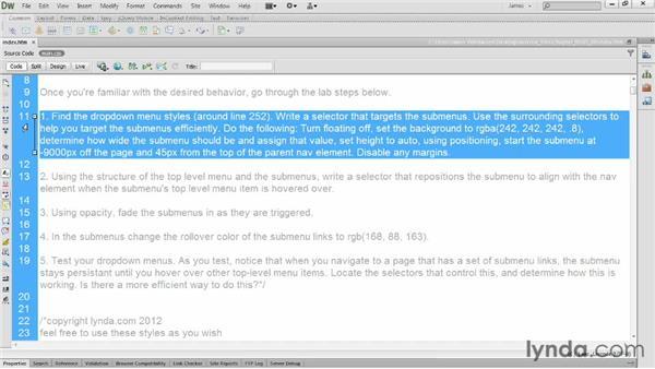 Lab: Dropdown menus: CSS: Styling Navigation