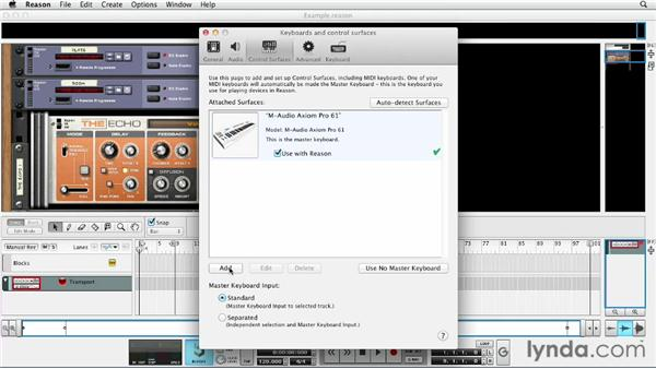 Setting preferences and settings for controllers and audio: Up and Running with Reason 6.5