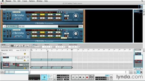 Creating additional Dr. Octo Rex tracks and instrument tracks: Up and Running with Reason 6.5