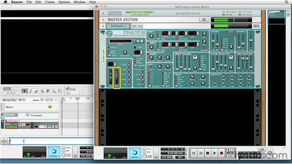Using the SubTractor analog synth: Up and Running with Reason 6.5