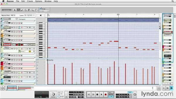 Editing MIDI performance data: Up and Running with Reason 6.5