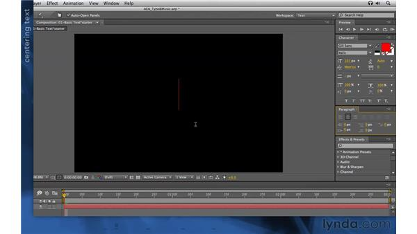 Entering, editing, and styling type: After Effects Apprentice 06: Type and Music
