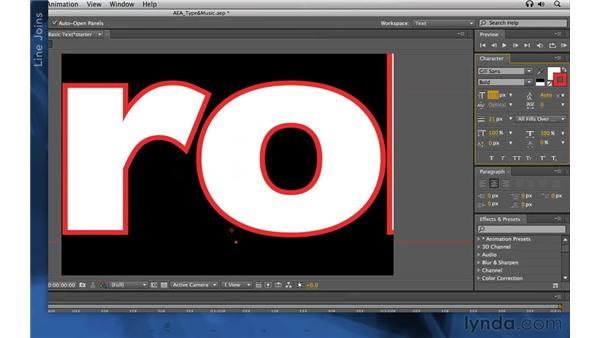 Using strokes: After Effects Apprentice 06: Type and Music