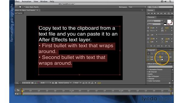 Working with paragraph text: After Effects Apprentice 06: Type and Music