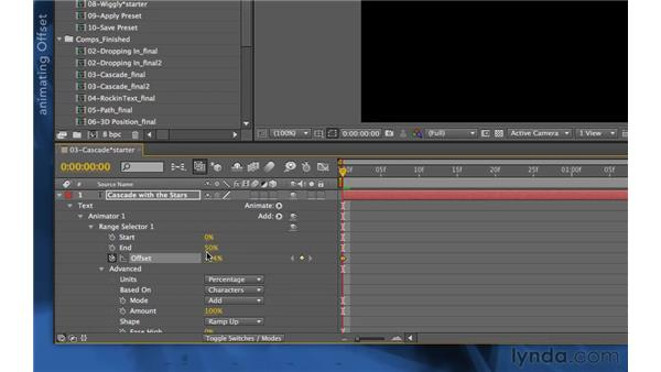 Working with ramp selection shapes: After Effects Apprentice 06: Type and Music