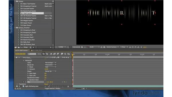Using a vertical blur treatment: After Effects Apprentice 06: Type and Music