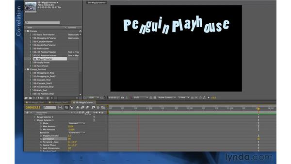 Exploring wiggly options: After Effects Apprentice 06: Type and Music