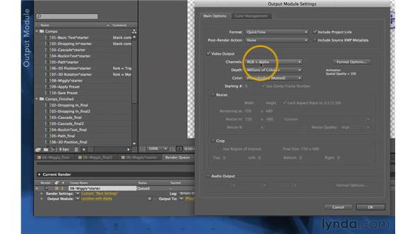 Rendering with alpha channels: After Effects Apprentice 06: Type and Music
