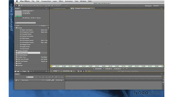 Adding audio: After Effects Apprentice 06: Type and Music