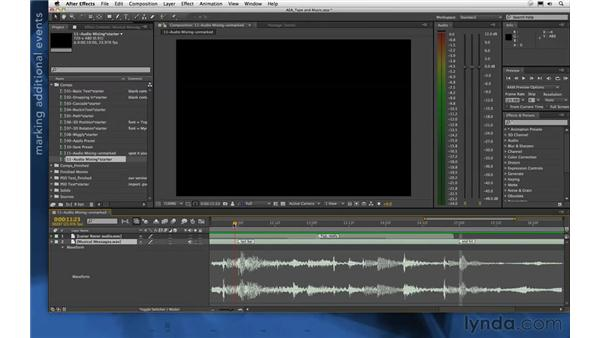 Timing dialogue to music: After Effects Apprentice 06: Type and Music