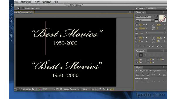 Using smart quotes: After Effects Apprentice 06: Type and Music