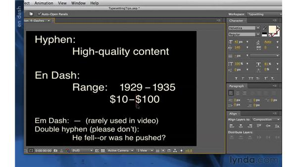 Using hyphens and dashes: After Effects Apprentice 06: Type and Music