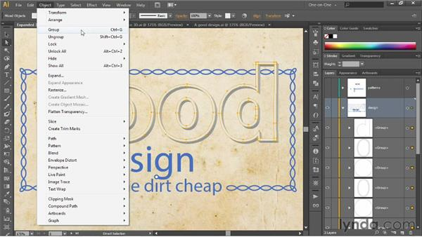 Selecting and working inside groups: Illustrator CS6 One-on-One: Intermediate
