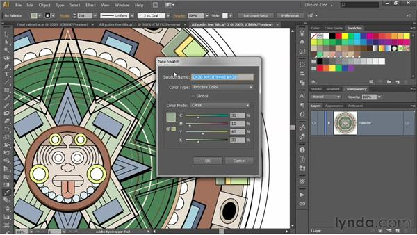 Lifting a color and creating a swatch: Illustrator CS6 One-on-One: Intermediate