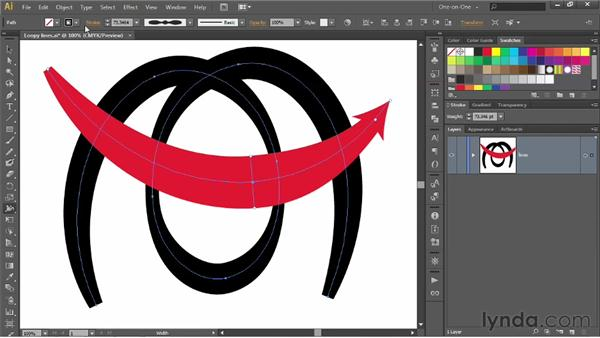 Using the Width tool to vary the line weight: Illustrator CS6 One-on-One: Intermediate
