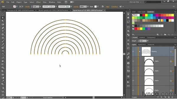 Drawing a linear spiral with the Polar Grid tool: Illustrator CS6 One-on-One: Intermediate