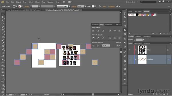 Distributing by a specified amount of space: Illustrator CS6 One-on-One: Intermediate