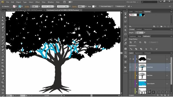 Filling in branches with the Blob Brush: Illustrator CS6 One-on-One: Intermediate
