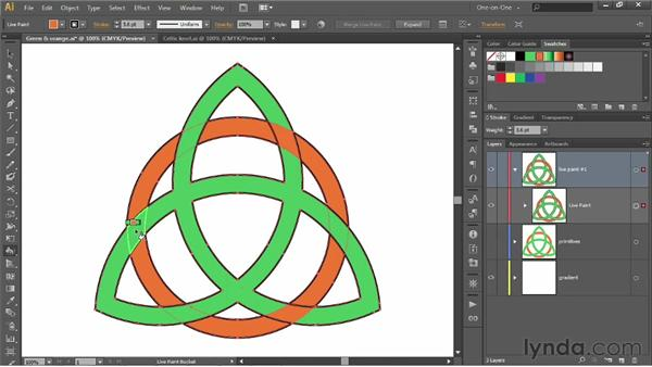 Weaving one path outline into another: Illustrator CS6 One-on-One: Intermediate