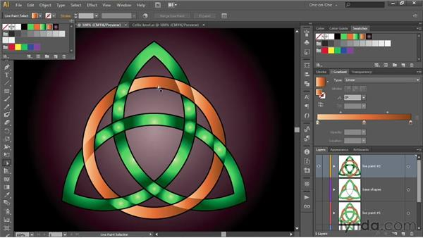Combining gradients and depth with Live Paint: Illustrator CS6 One-on-One: Intermediate