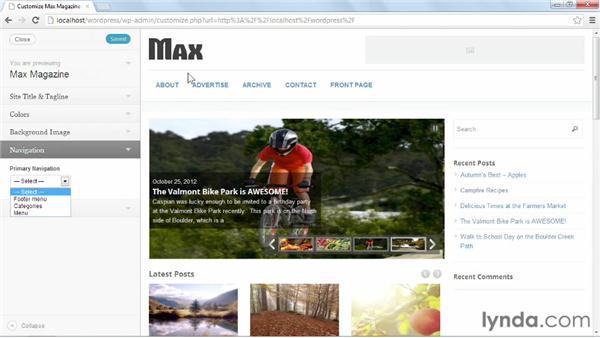 Basic theme customization: Start with a Theme: Magazine Styles in WordPress