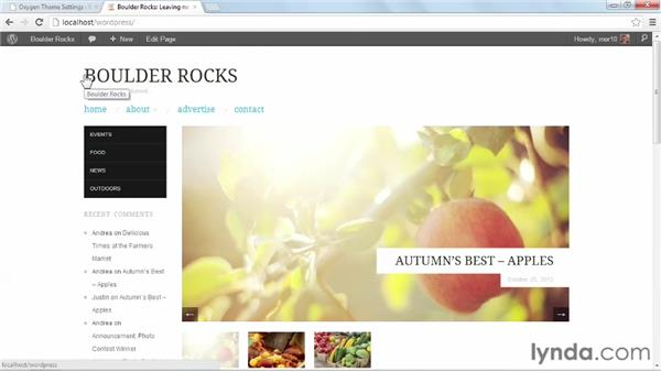 Configuring Oxygen settings: Start with a Theme: Magazine Styles in WordPress