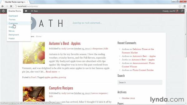 Setting up the Path front page: Start with a Theme: Magazine Styles in WordPress