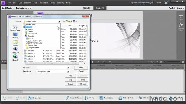 Using the exercise files: Up and Running with Premiere Elements 11