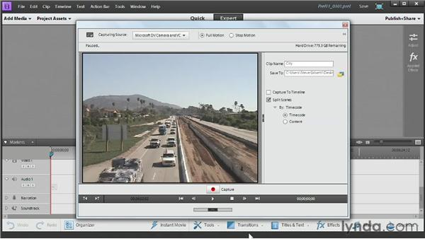 Capturing video from a tape-based camcorder: Up and Running with Premiere Elements 11