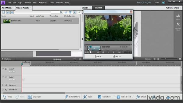 Pretrimming media in the clip monitor: Up and Running with Premiere Elements 11
