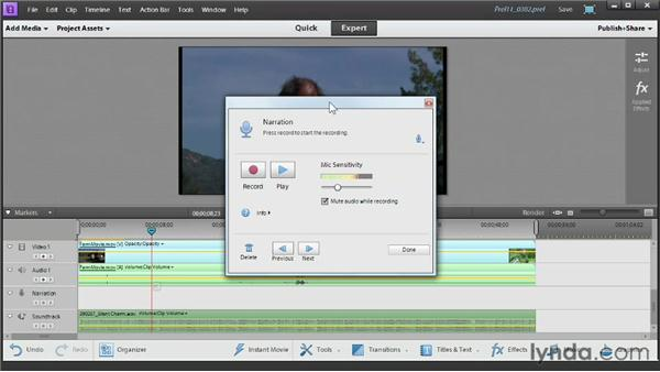 Recording narration: Up and Running with Premiere Elements 11