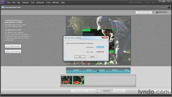 Creating a motion path with the Pan & Zoom tool: Up and Running with Premiere Elements 11
