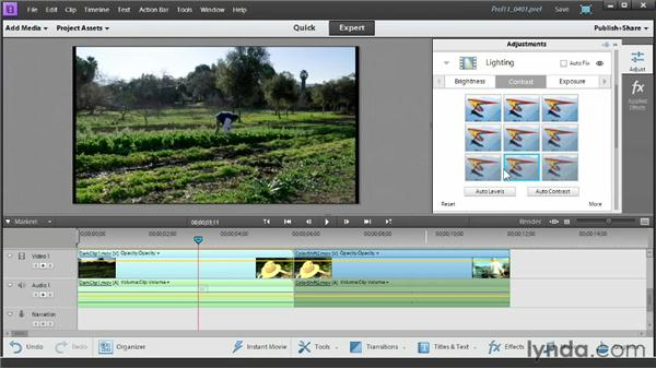Adjusting color, lighting, and audio: Up and Running with Premiere Elements 11