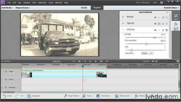 Adding and customizing a video effect: Up and Running with Premiere Elements 11