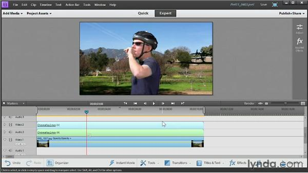 Using the Chroma Key and Videomerge effects: Up and Running with Premiere Elements 11