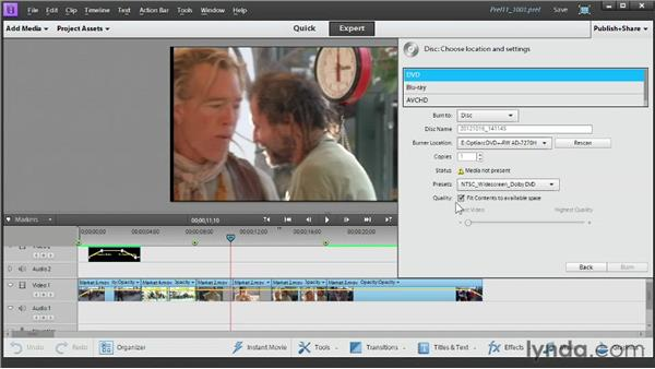 Burning a DVD or a Blu-ray disc: Up and Running with Premiere Elements 11