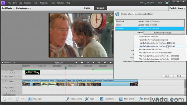 Uploading video to Facebook or YouTube: Up and Running with Premiere Elements 11