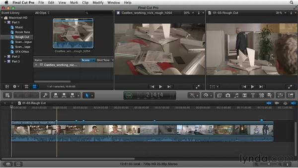 Getting perspective by reviewing the rough cut: Narrative Scene Editing with Final Cut Pro X v10.0.9