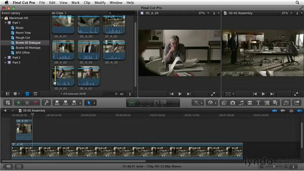 Editing dialogue: Building the basic assembly: Narrative Scene Editing with Final Cut Pro X v10.0.9