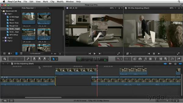 Refining the assembly by adjusting timing: Narrative Scene Editing with Final Cut Pro X v10.0.9