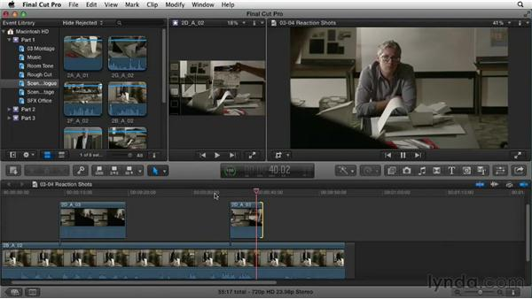 Adding reaction shots: Narrative Scene Editing with Final Cut Pro X v10.0.9