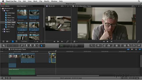Using alternative takes: Narrative Scene Editing with Final Cut Pro X v10.0.9