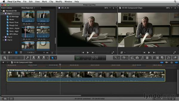 Grouping clips together: Narrative Scene Editing with Final Cut Pro X v10.0.9